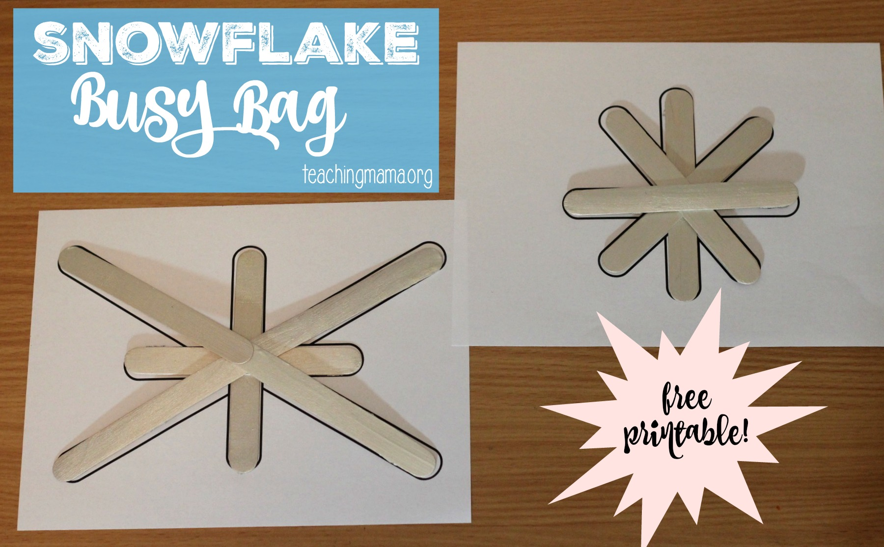 snowflake busy bag free printable teaching mama