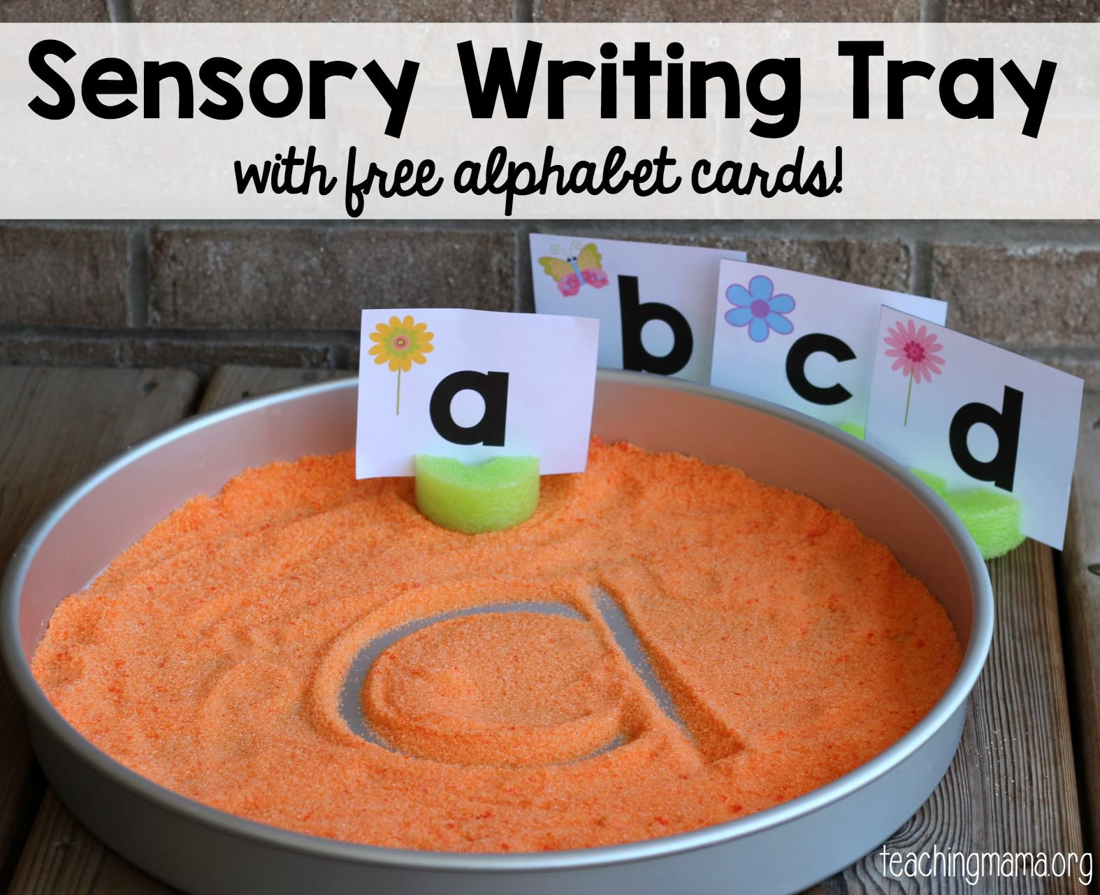 Sensory Writing Tray with Alphabet Cards - Teaching Mama