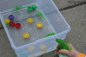 Fine Motor Activity with Spray Bottles