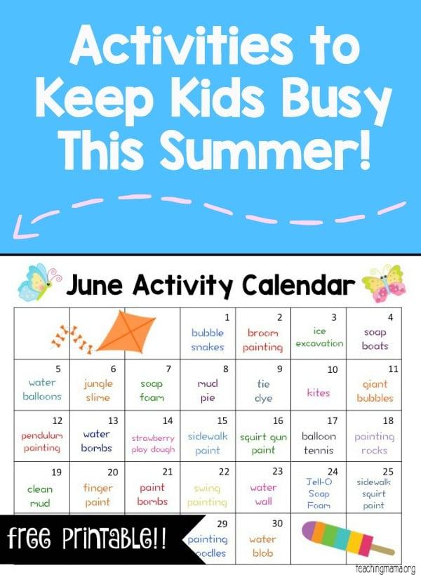 Calendar Ideas For June : June activity calendar teaching mama