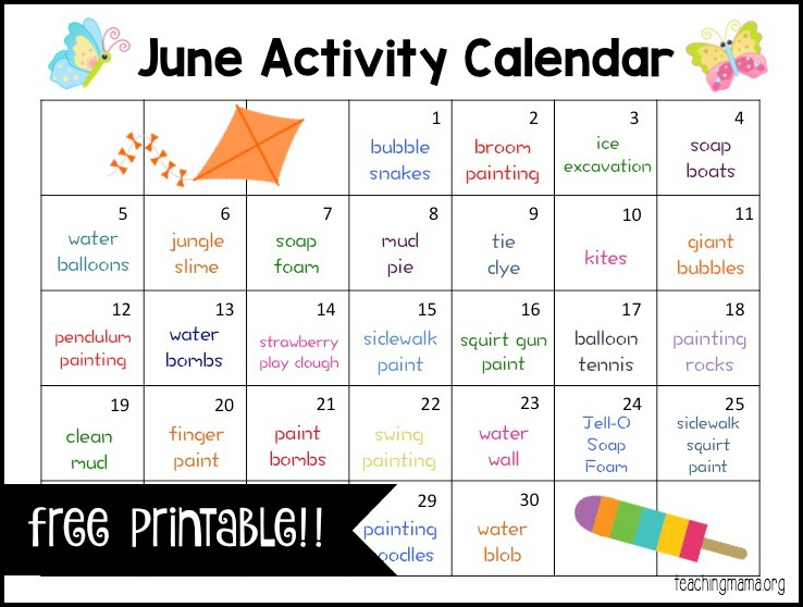 June Activity Calendar  Teaching Mama