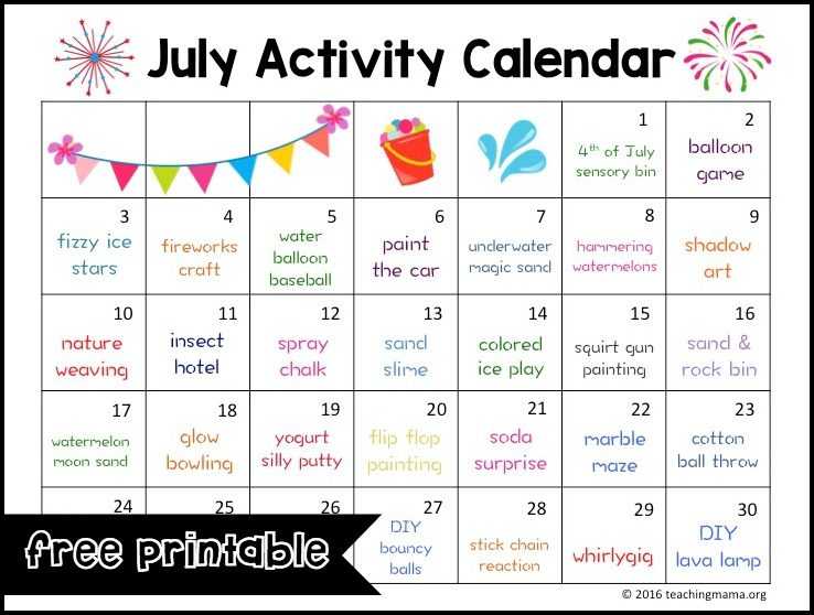 July Calendar Ideas : July activity calendar