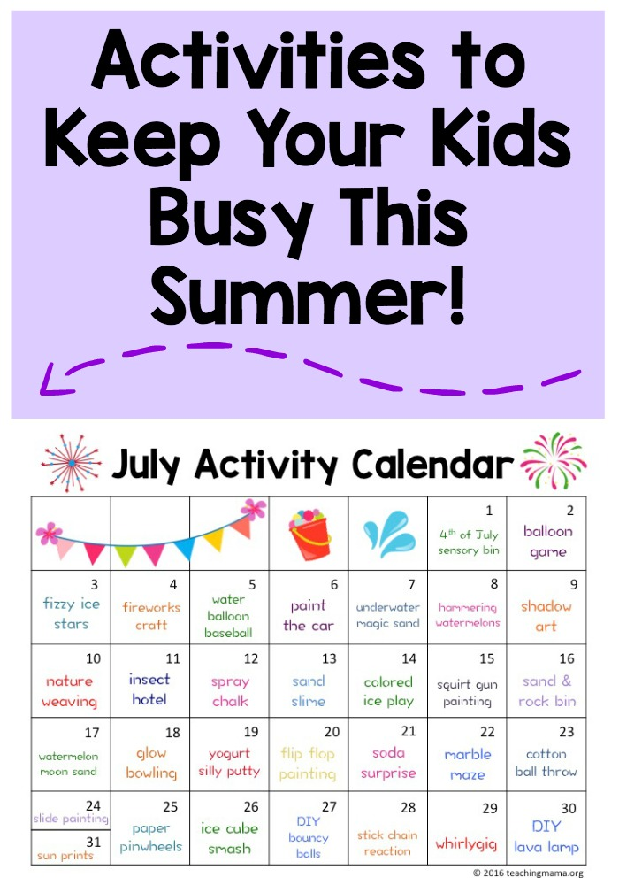 Calendar Ideas For July : July activity calendar