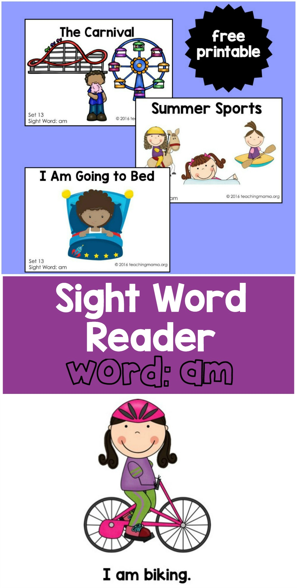 "Sight Word Readers for the word ""am"" - free printables!"