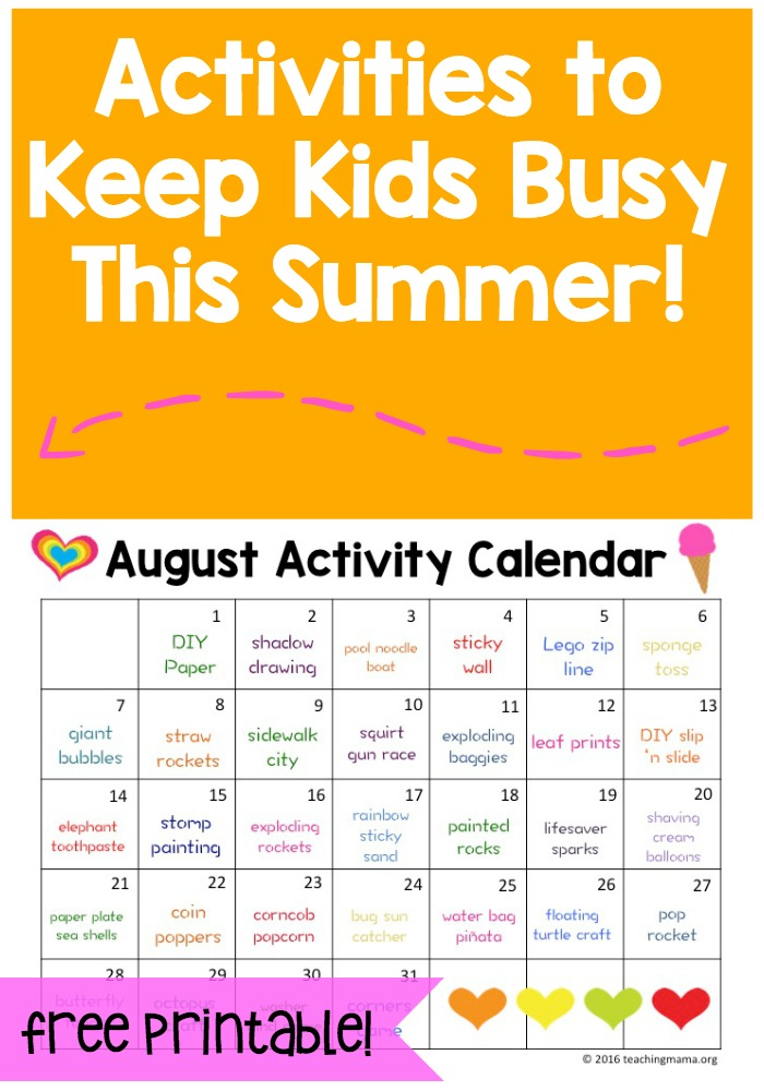 Calendar Practice Worksheets Kindergarten : August activity calendar