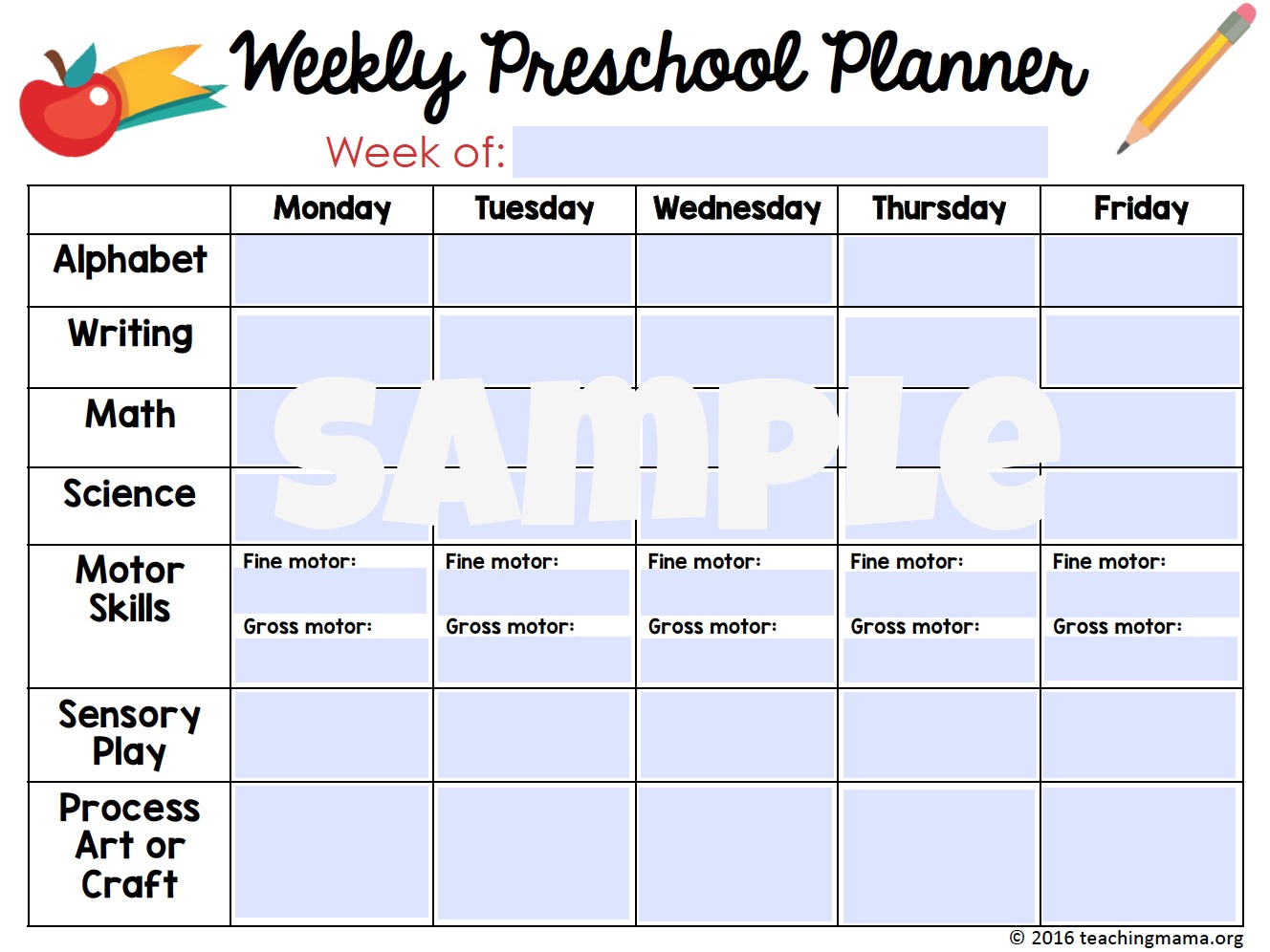 Printable Classroom Planner for 2017-2018