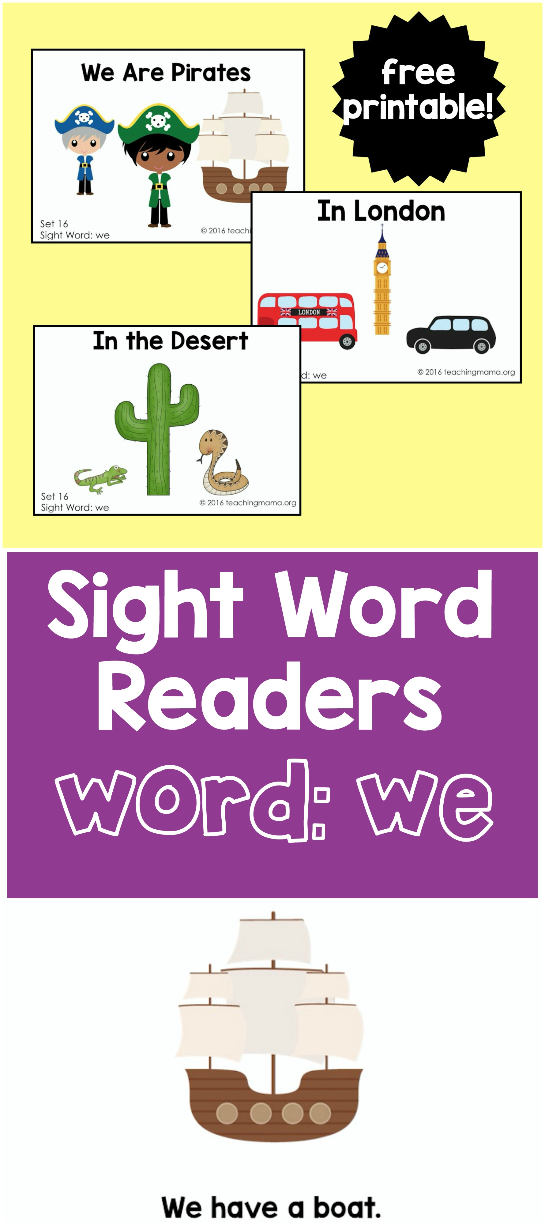"Sight Word Readers for the Word ""We"""