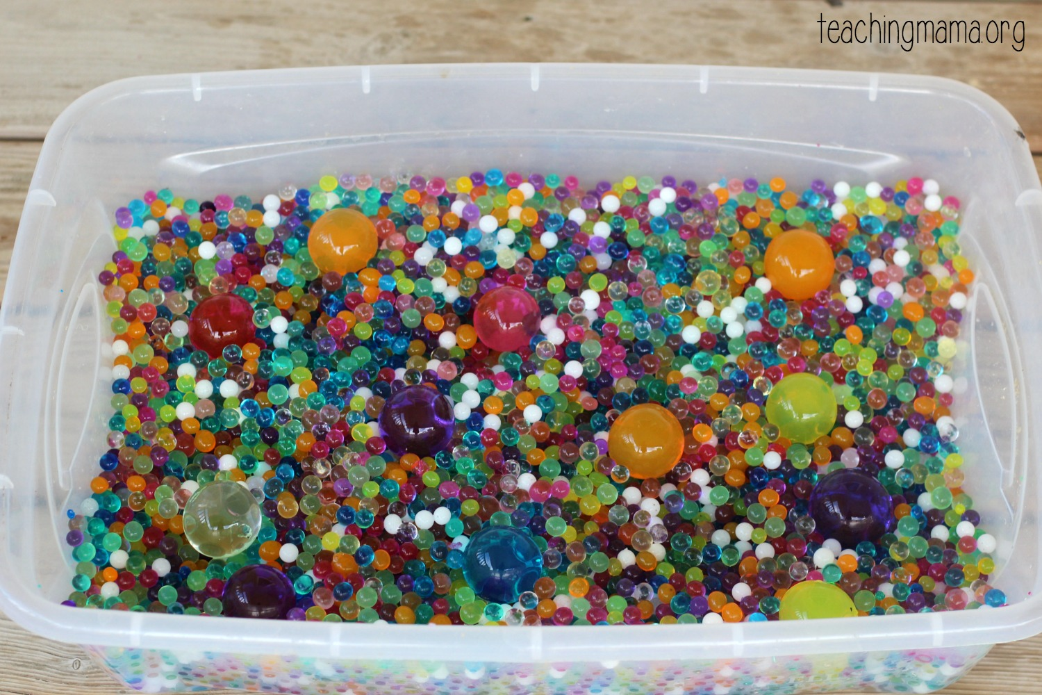 bin of water beads