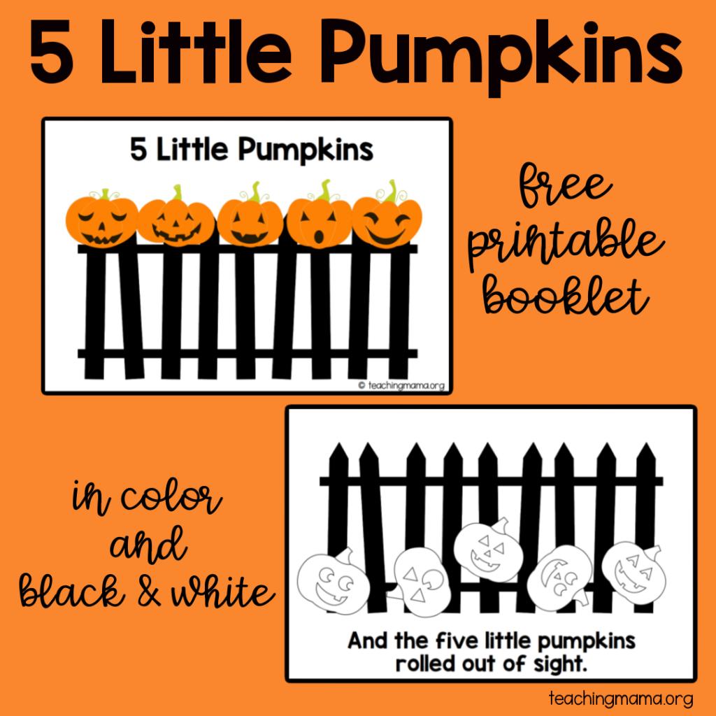 5 little pumpkins printable booklets
