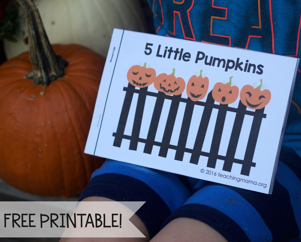 picture about 5 Little Pumpkins Printable identified as 5 Minimal Pumpkins - Free of charge Rhyme Booklet