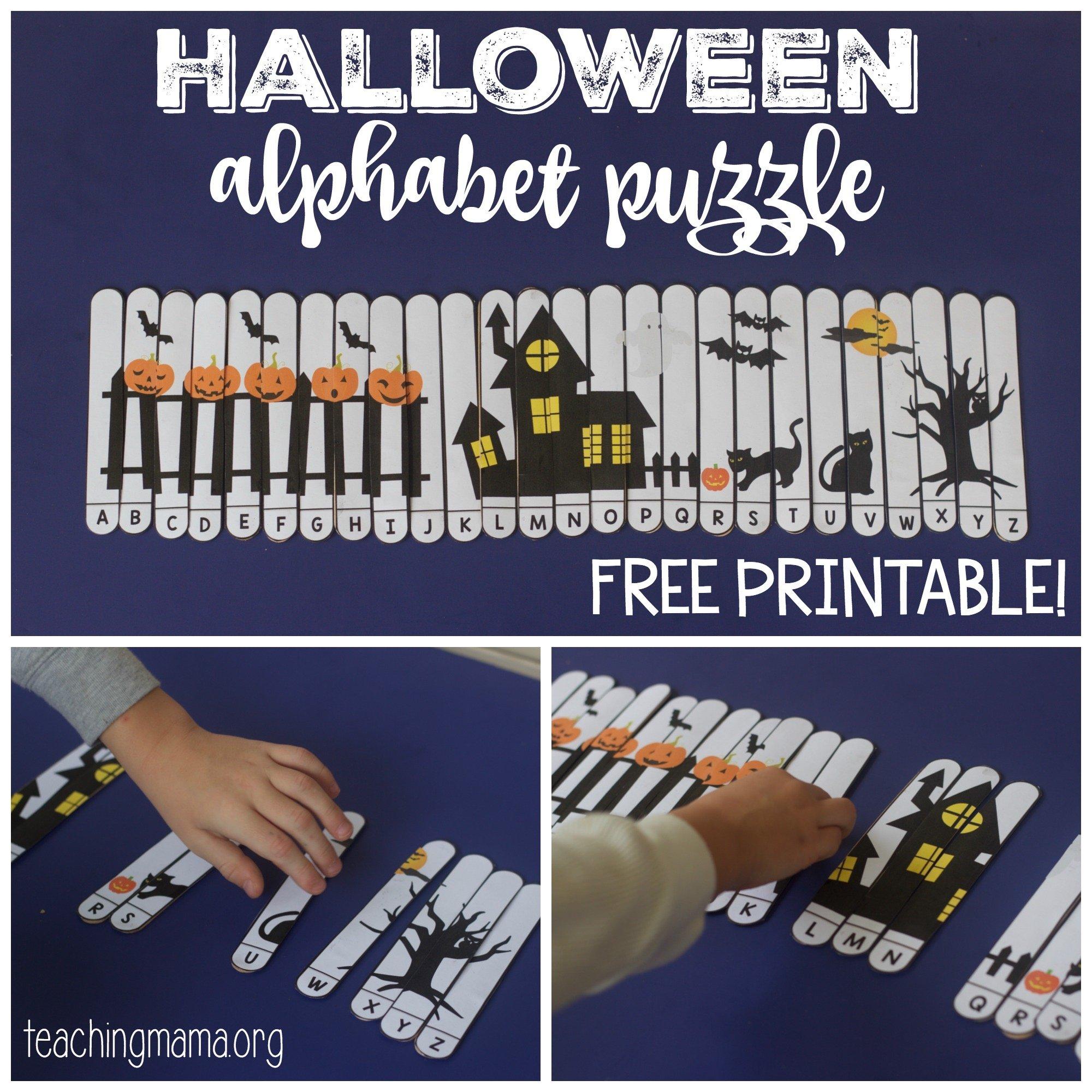graphic regarding Alphabet Puzzle Printable titled Halloween Alphabet Puzzle
