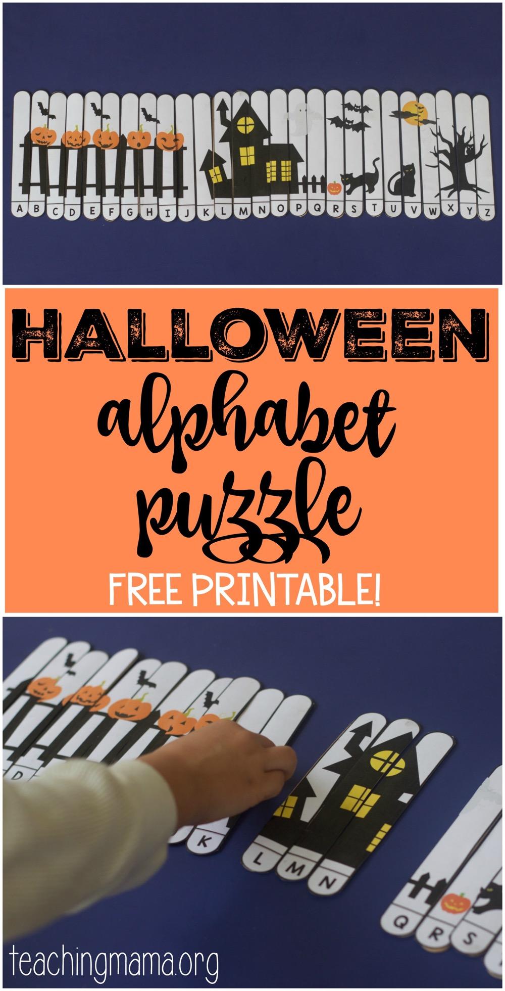 Halloween Alphabet Letter R Cat Witch Ryta: Halloween Alphabet Puzzle