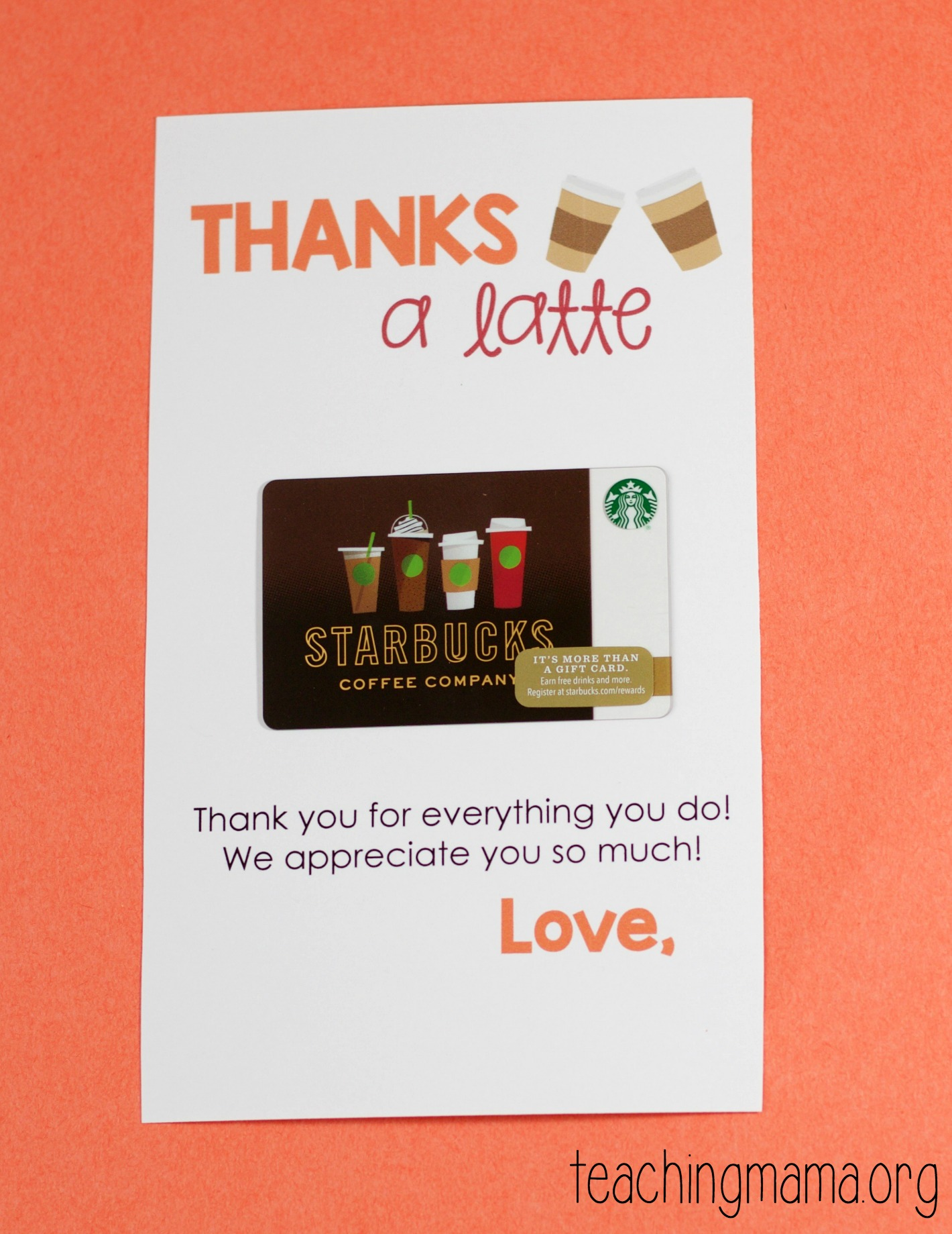 picture about Thanks a Latte Printable titled Owing a Latte Printable