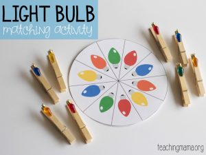 light bulb matching activity