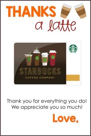Thanks A Latte - free printable!