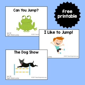 "Sight Word Readers for the Word ""Jump"""