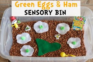 Green Eggs and Ham Sensory Bin