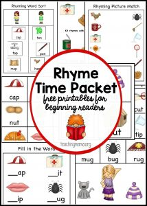 Rhyme Time Packet for Preschoolers