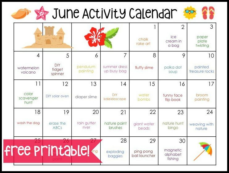 Calendar Lesson Ideas : June activity calendar