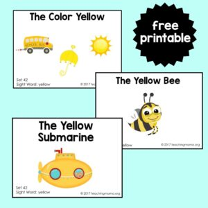 sight word readers for the word yellow
