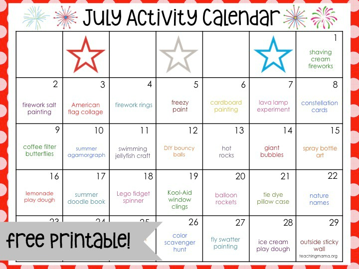 July Activity Calendar  Teaching Mama