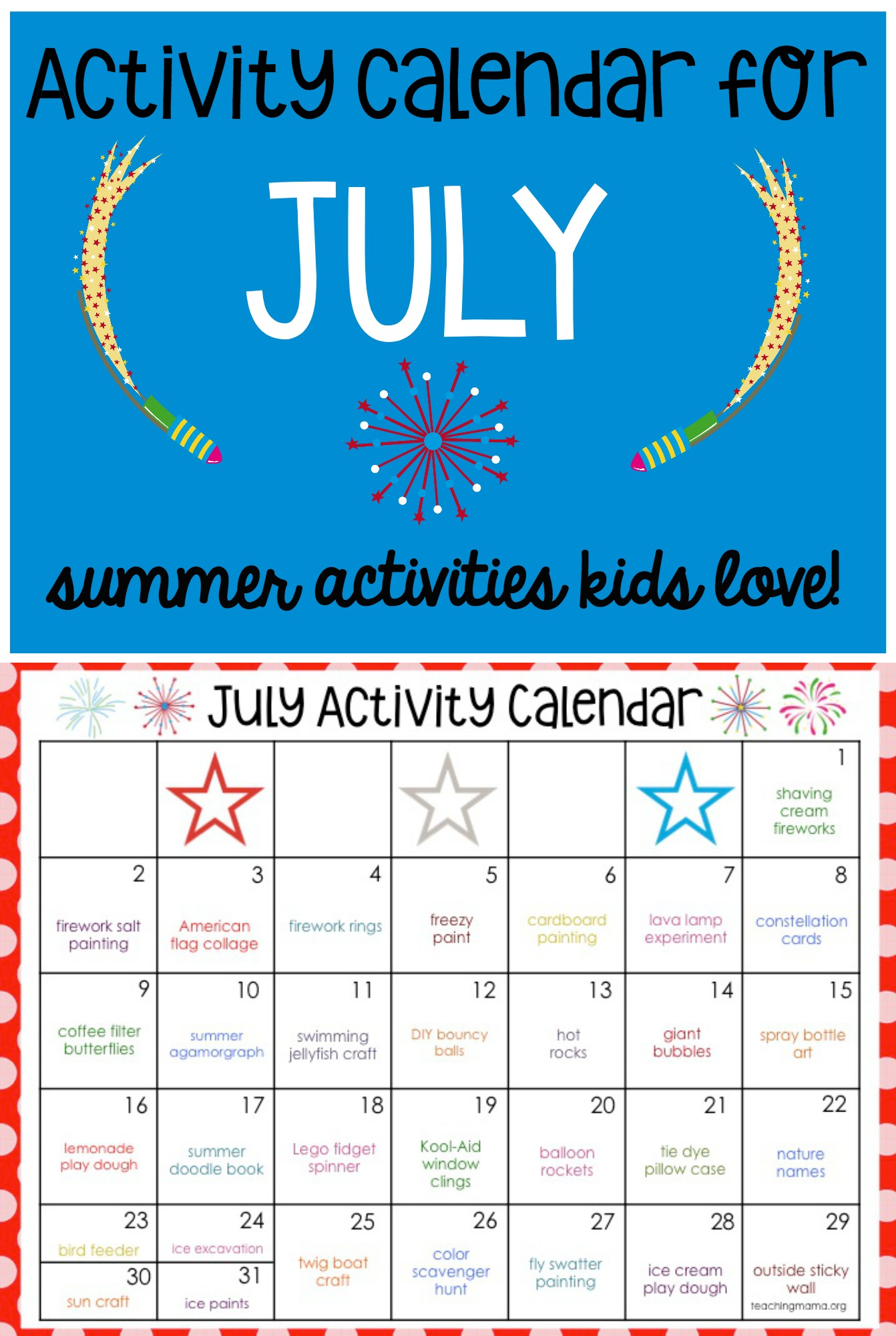 Calendar Ideas For July : July activity calendar teaching mama