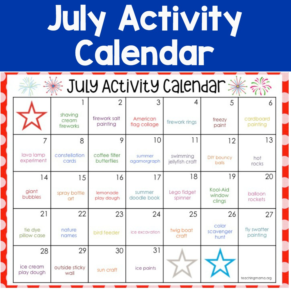 July activity calendar - ideas for keeping kids busy