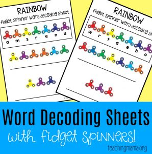 Rainbow Fidget Spinner Word Decoding Sheets