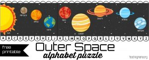 Outer Space ABC Puzzle Pin