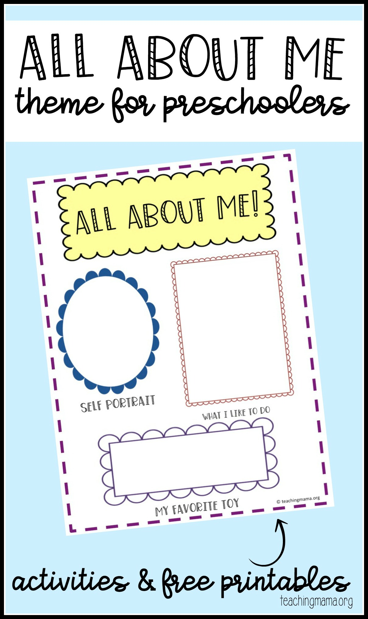 All about me preschool theme for About me template for students