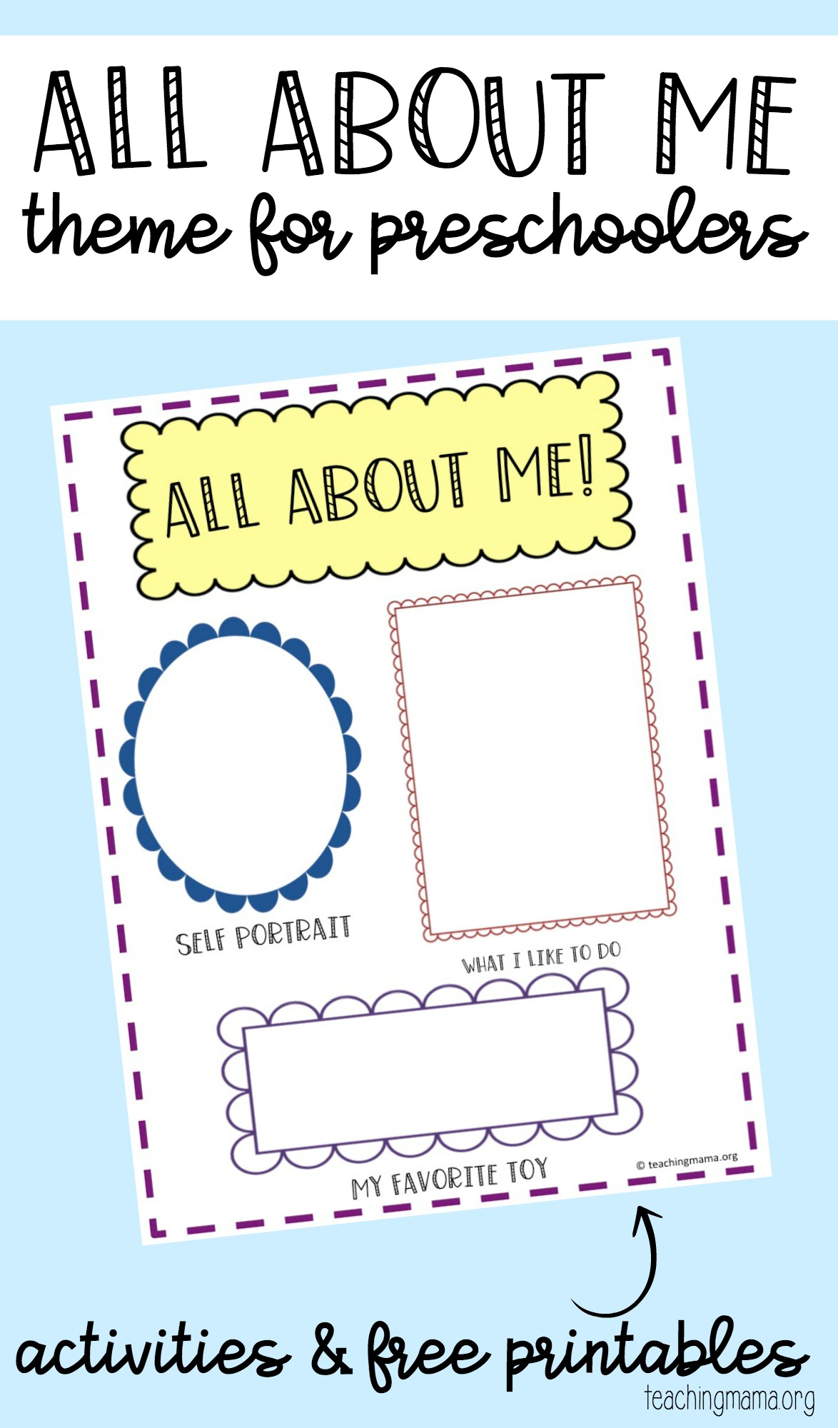 all about me Fun children's learning activities, including printable templates, for preschool, kindergarten and elementary school kids.