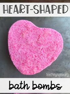 heart-shaped bath bombs