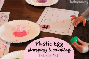 Plastic Egg Stamping and Counting Activity
