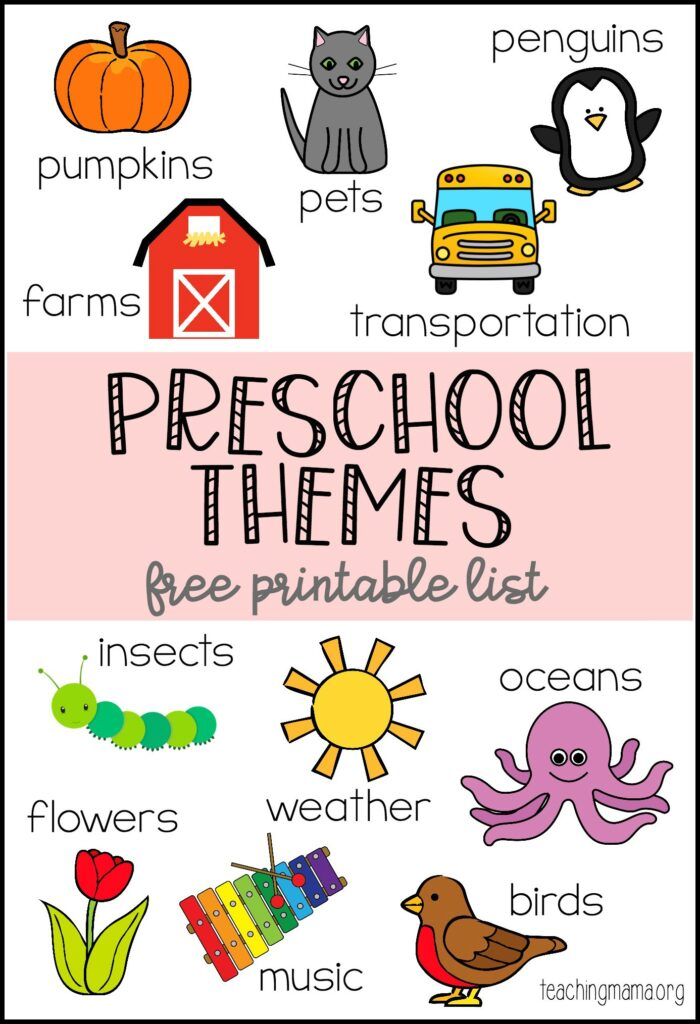 preschool themes printable. Black Bedroom Furniture Sets. Home Design Ideas