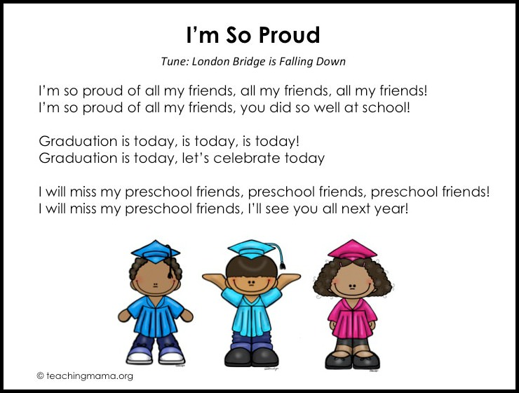 graphic regarding Were Moving Up to Kindergarten Printable Lyrics titled Preschool Commencement New music - Absolutely free Printables Added Strategies
