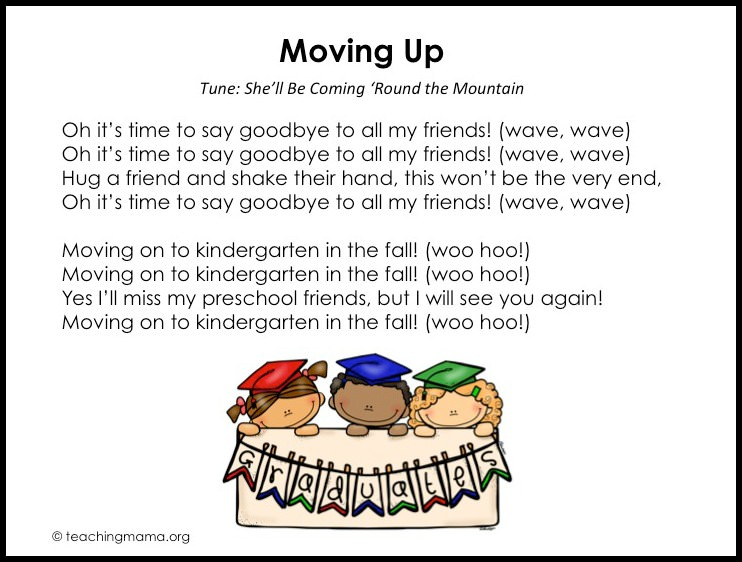 image about Were Moving Up to Kindergarten Printable Lyrics identify Preschool Commencement Audio - Totally free Printables Extra Recommendations