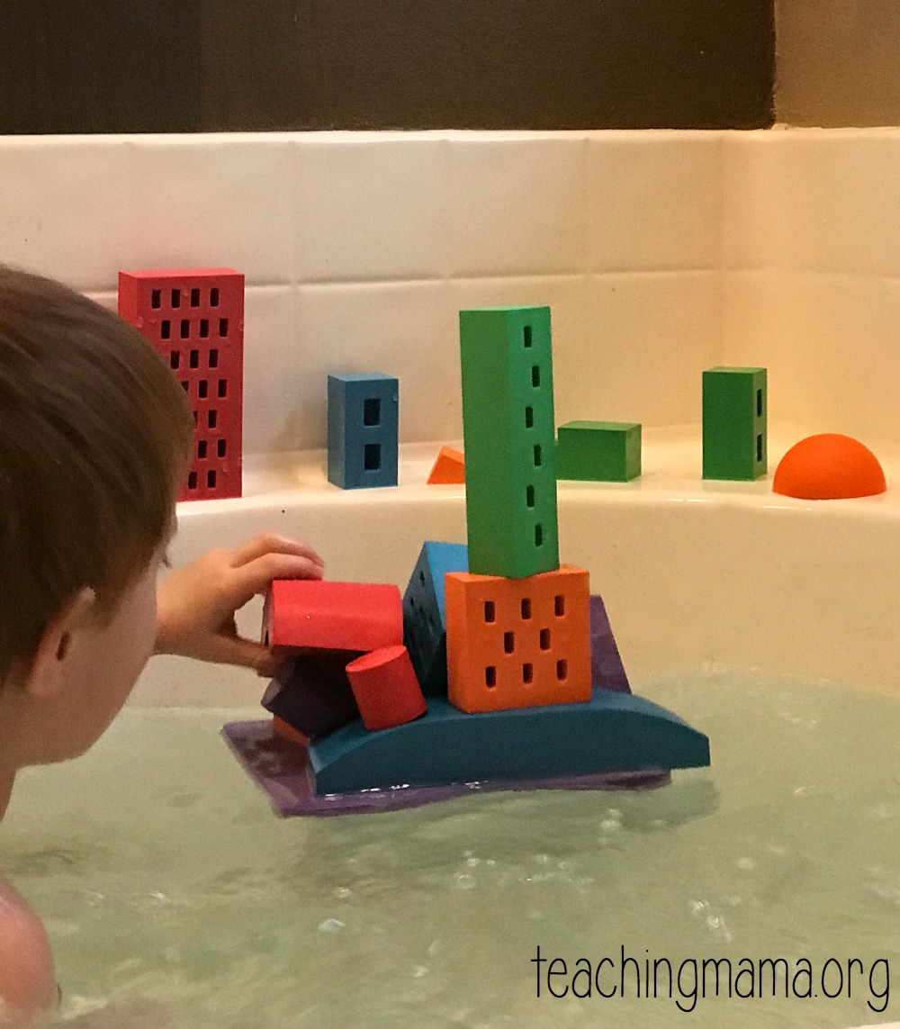 bath tub with floating blocks