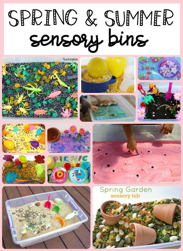 spring and summer sensory bins
