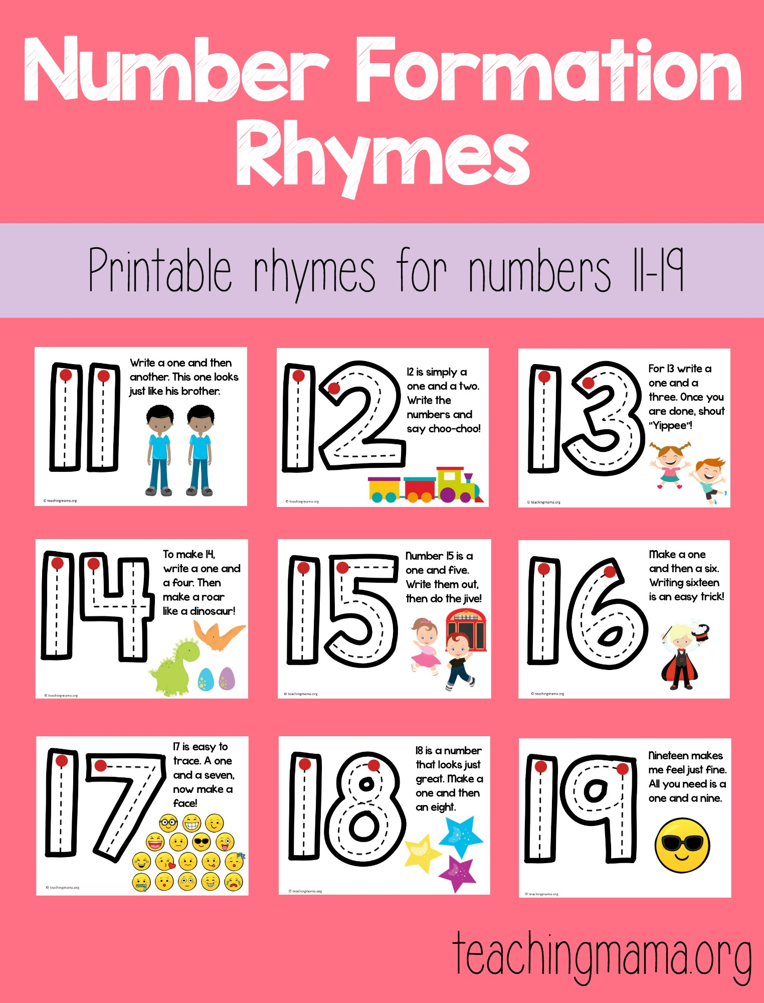 number formation rhymes 11-19