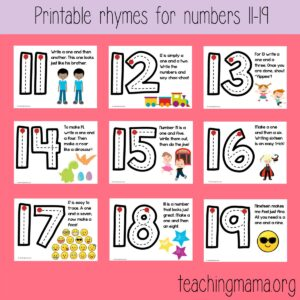 Number Formation Rhymes for 11-19