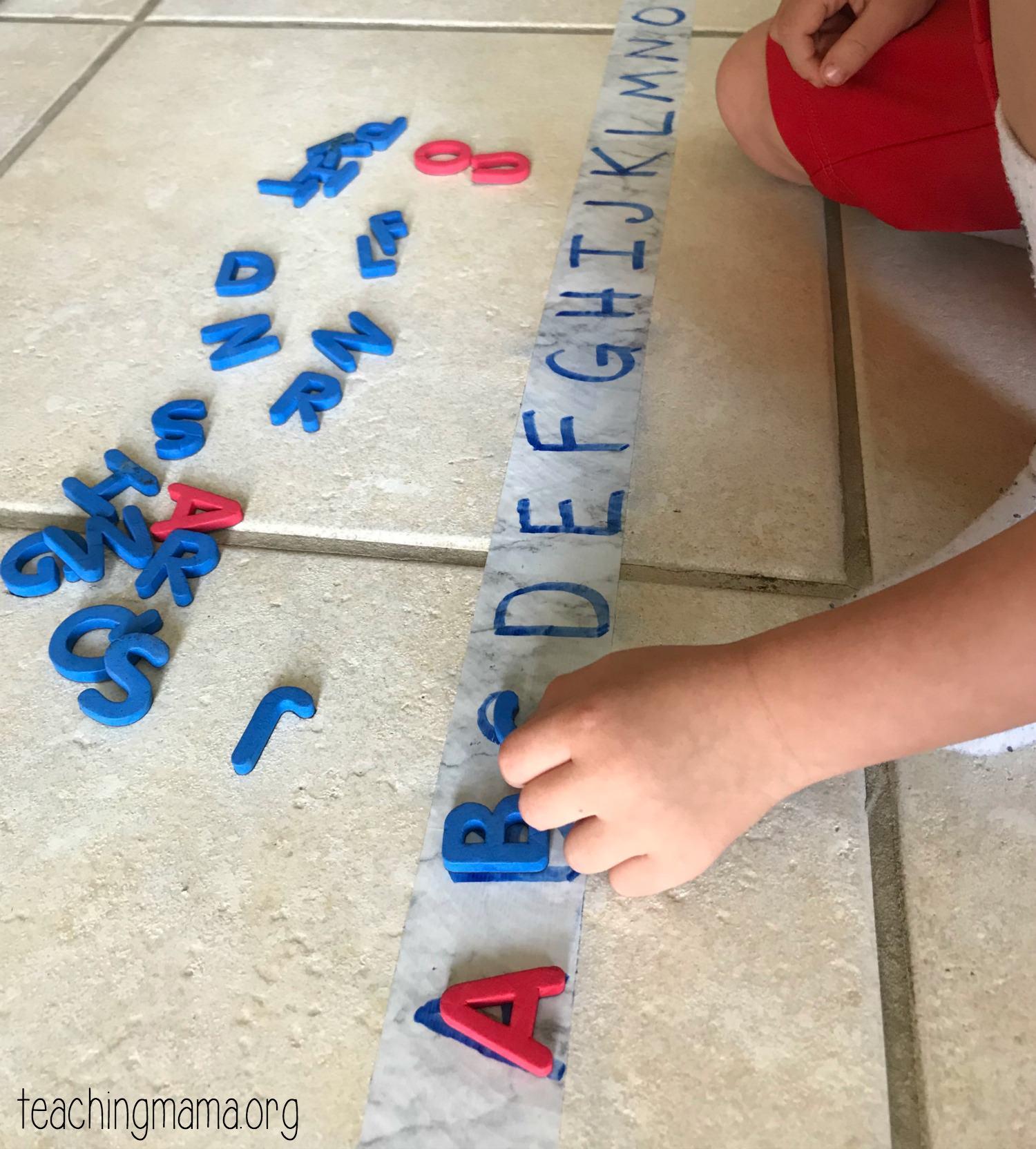alphabet match on duck tape