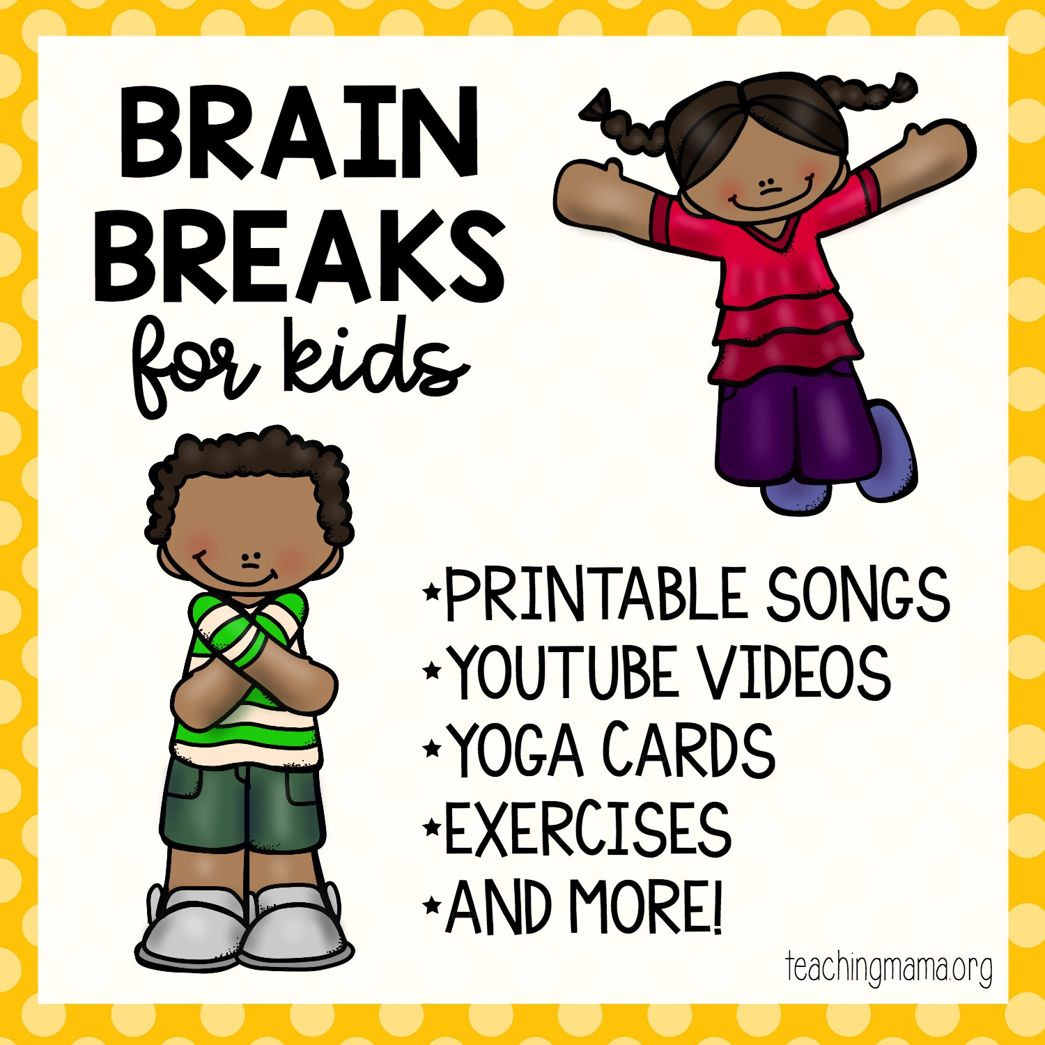 photograph about Break Cards for Students Printable identified as Intellect Breaks for Young children