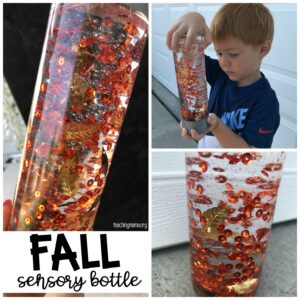 Sensory Bottle with Confetti Leaves