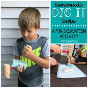 homemade dig it bars - excavation activity