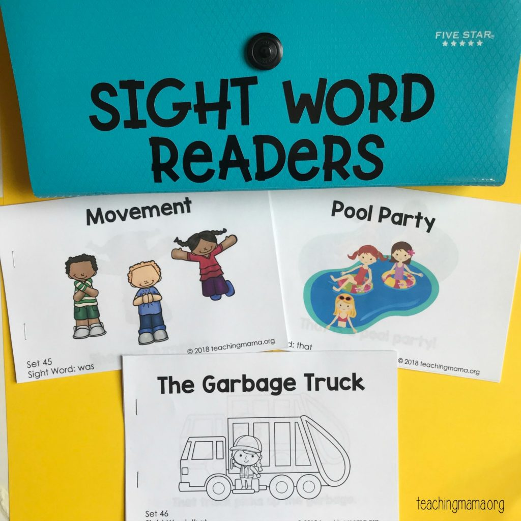 sight word readers with binder