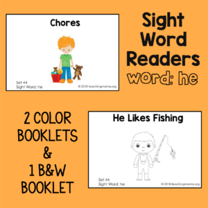 "Sight Word Readers for the Word ""He"""
