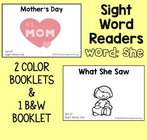 "Sight Word Readers for the Word ""She"""