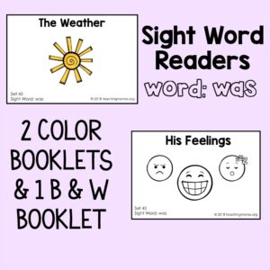 "Sight Word Reader for the Word ""Was"""