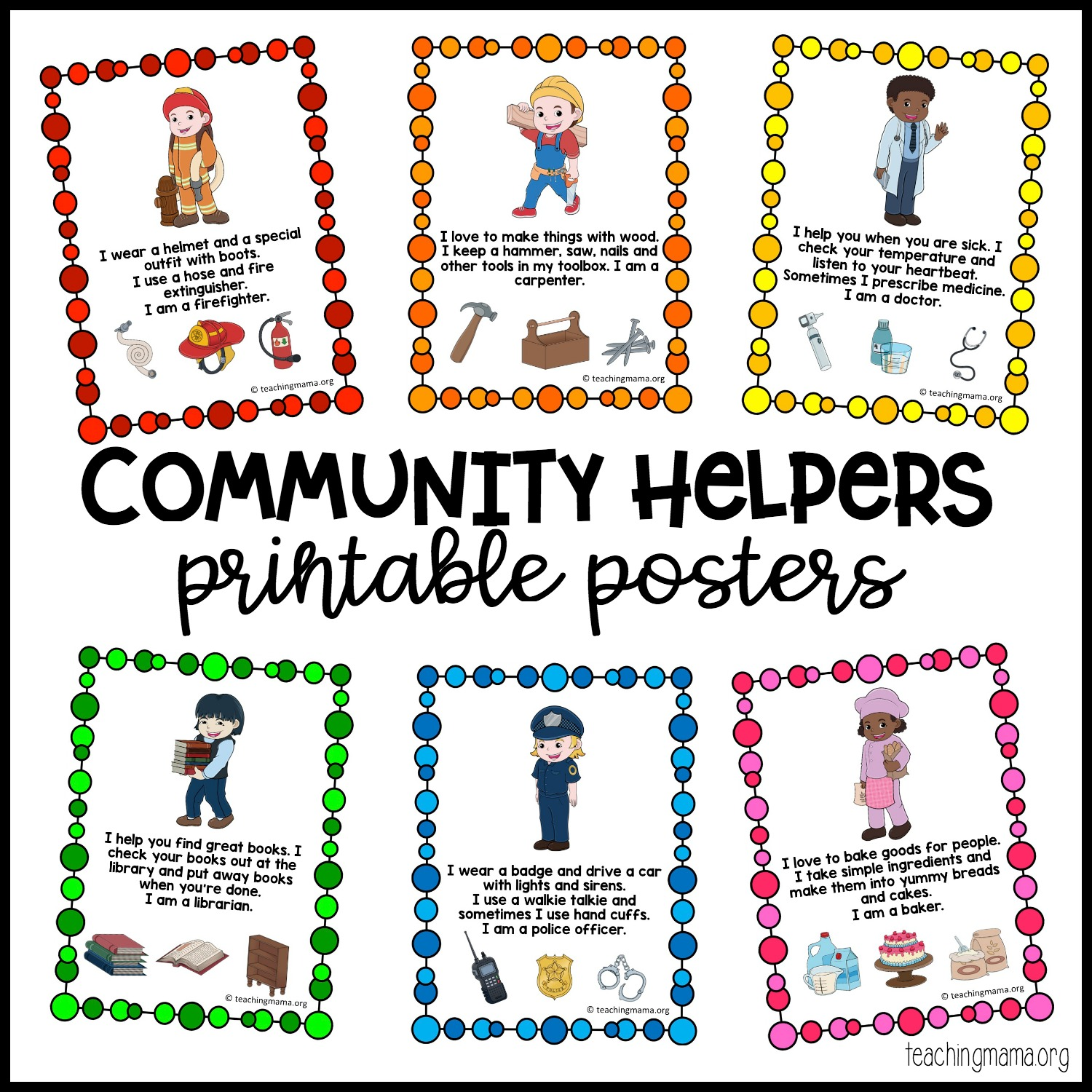 Community Helpers Printable Posters Teaching Mama