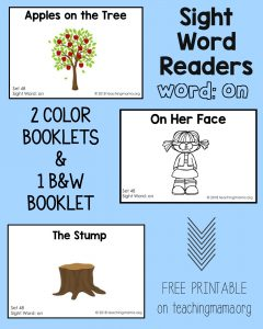"Sight Word Reader for the Word ""On"""
